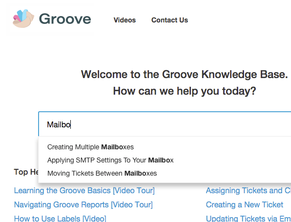 Groove Knowledge Base Instant Answers