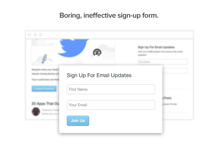 Boring, ineffective sign-up form