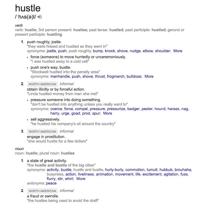 Synonym for hustler