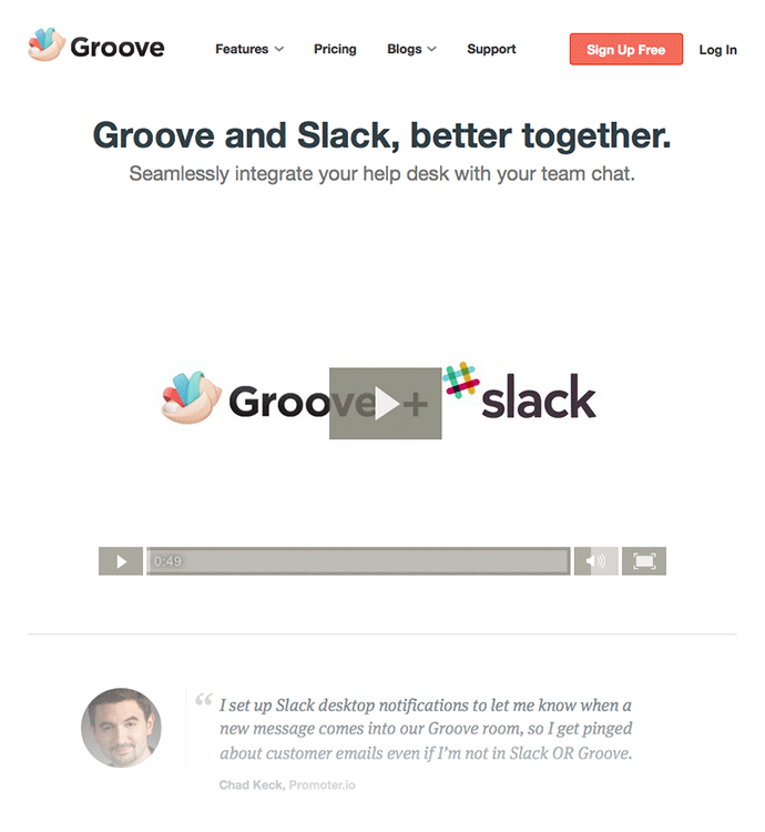 Landing page for Groove customers