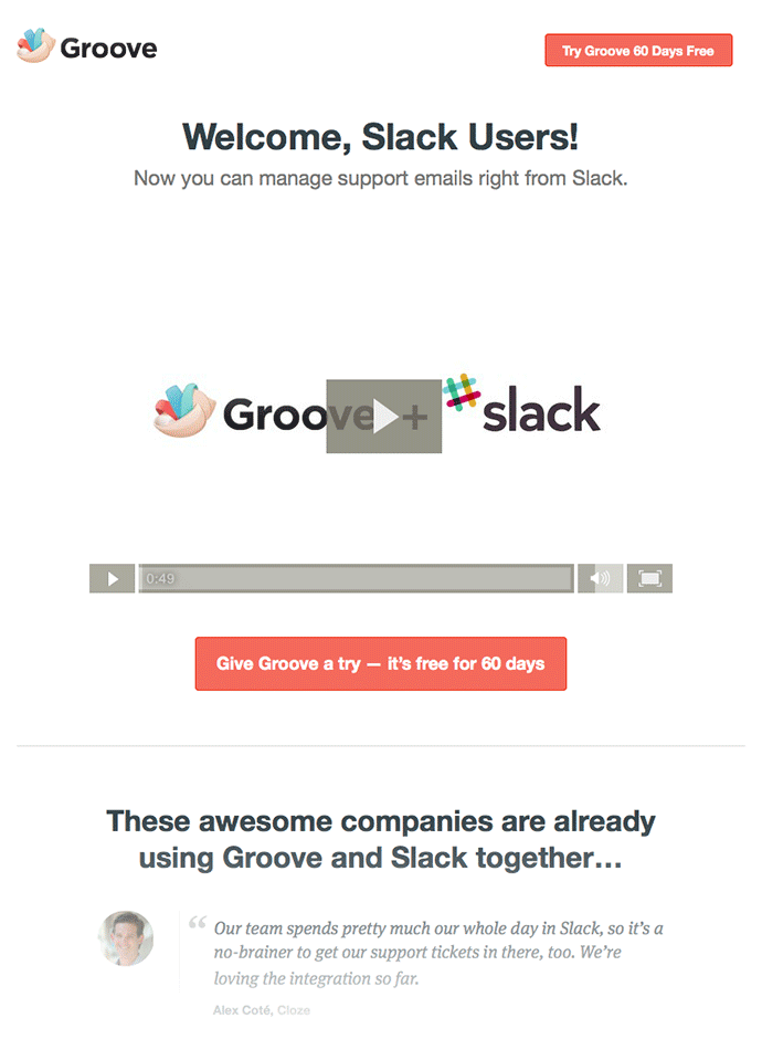 Landing page for Slack customers