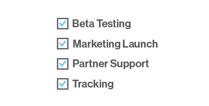 Launch checklist: beta testing, marketing launch, partner support, tracking