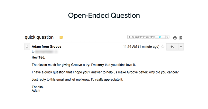 Customer exit survey: Our Open-Ended Question email