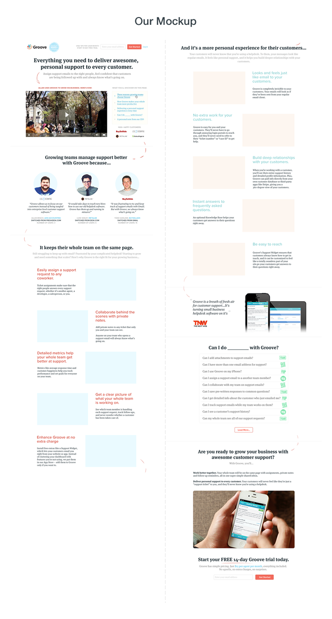 Long-form landing page: Our mockup