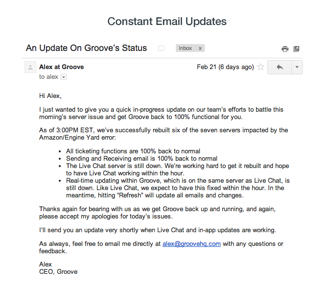 Product Outage Email Script — Update