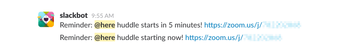 Zoom tips: Slack reminder