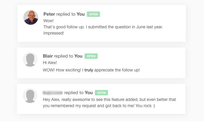 Happy follow-up responses