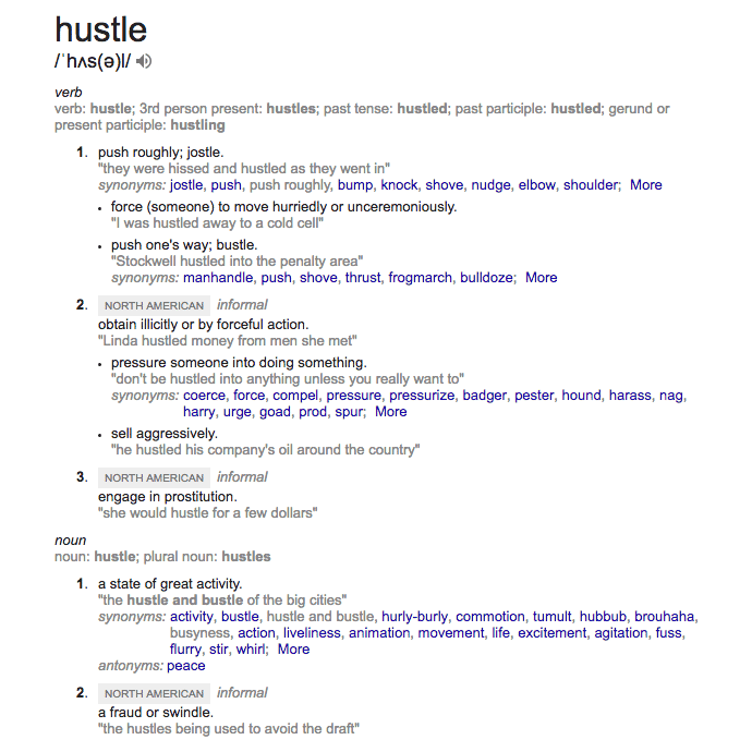 Hustle definitions