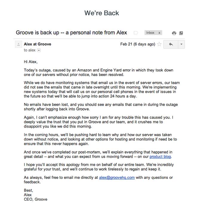Constant email updates