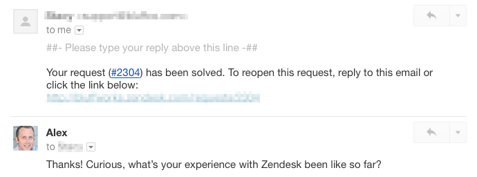 Conversation with Zendesk users