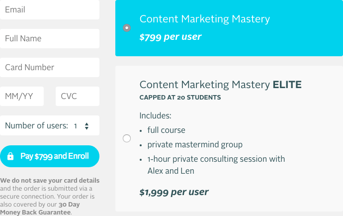 Selling online course: Course payment form