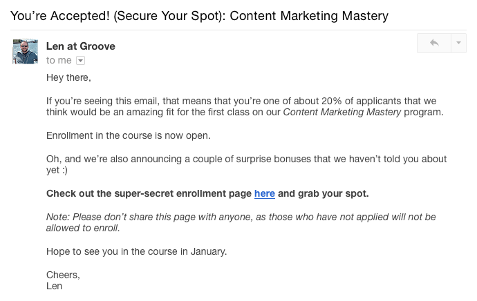 Selling online course: Email for good applicant