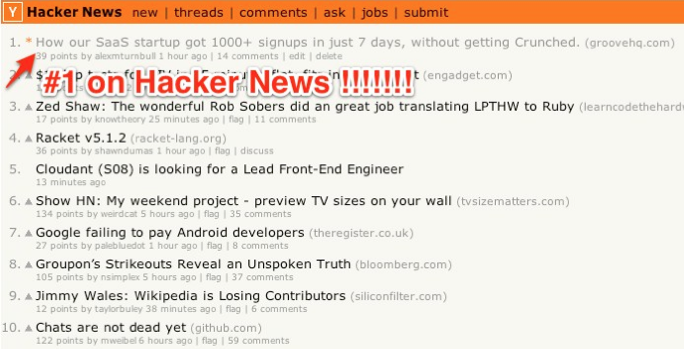 First on Hacker News
