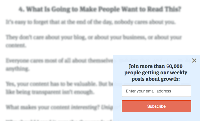 Grow email list with a scroll-up box