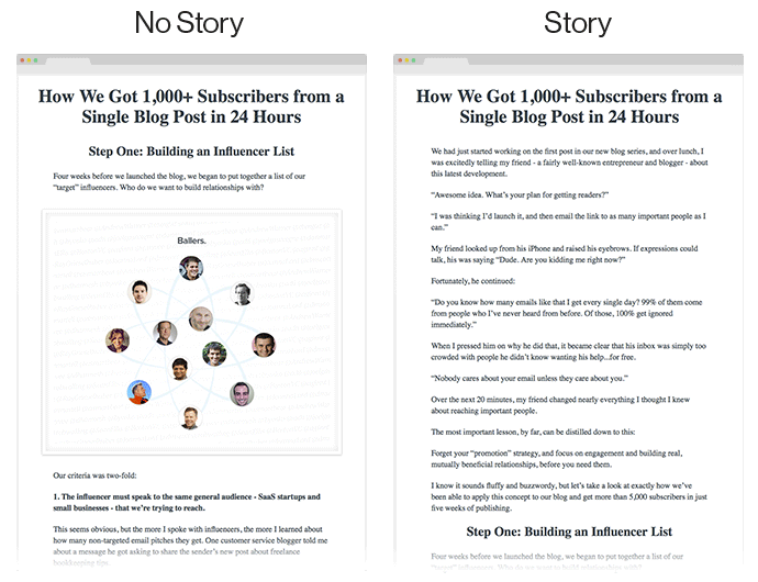 Story and no story comparison