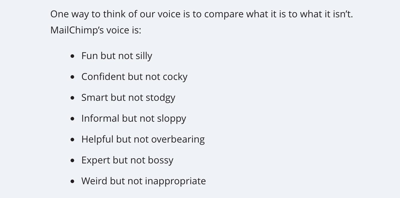 MailChimp's voice