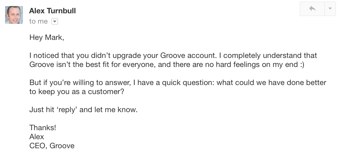 Email asking for feedback after a trial account runs out