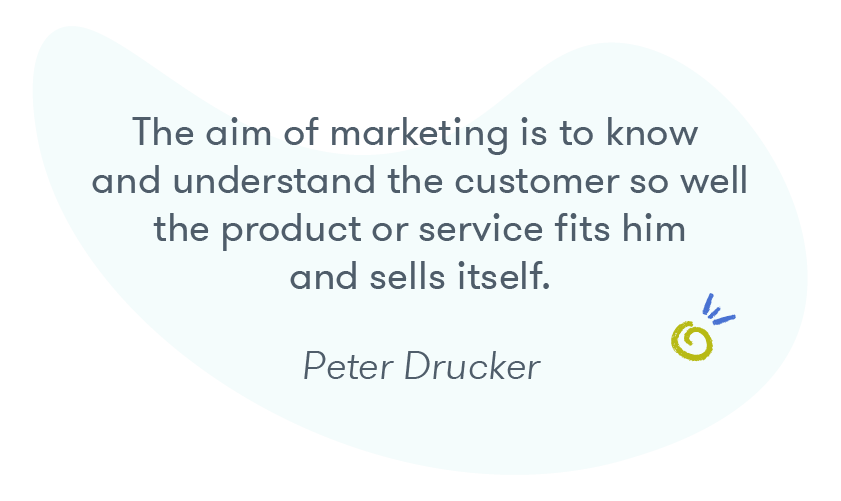 """The aim of marketing is to know and understand the customer so well the product or service fits him and sells itself"" -- Peter Drucker"