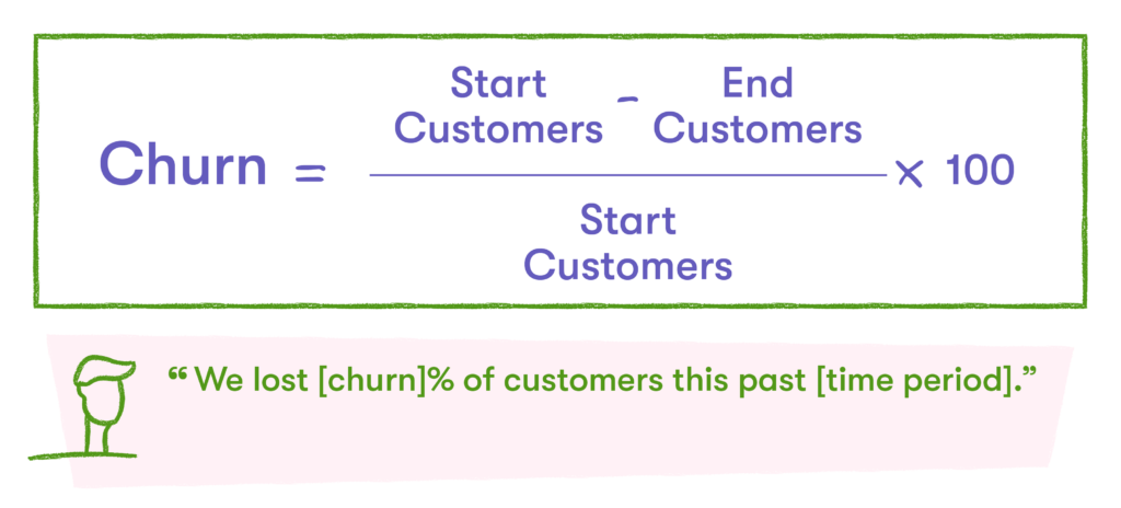 churn formula for customer marketing metrics