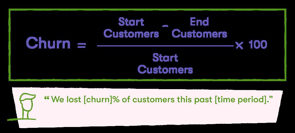churn formula for customer marketing metrics