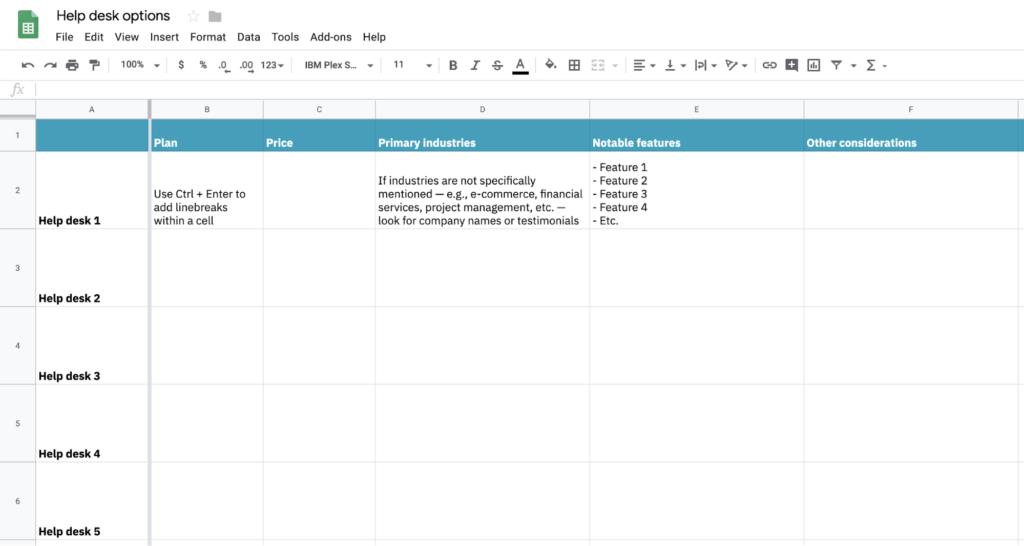 Spreadsheet template for selecting help desk options