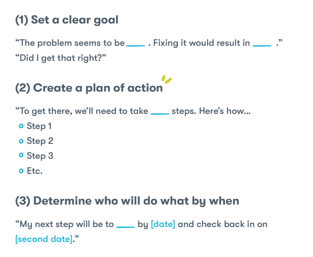"(1) Set a clear goal ""The problem seems to be [blank]. Fixing it would result in [blank]."" ""Did I get that right?"" (2) Create a plan of action ""To get there, we'll need to take [blank] steps. Here's how… Step 1 Step 2 Step 3 Etc. (3) Determine who will do what by when ""My next step will be to [blank] by [date] and check back in on [second date]."" ""Your next step will be to [blank] by [date] and check back in on [second date]."""