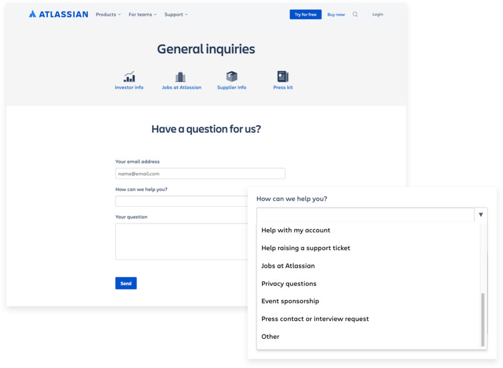 Automate customer inquiries via help-request forms