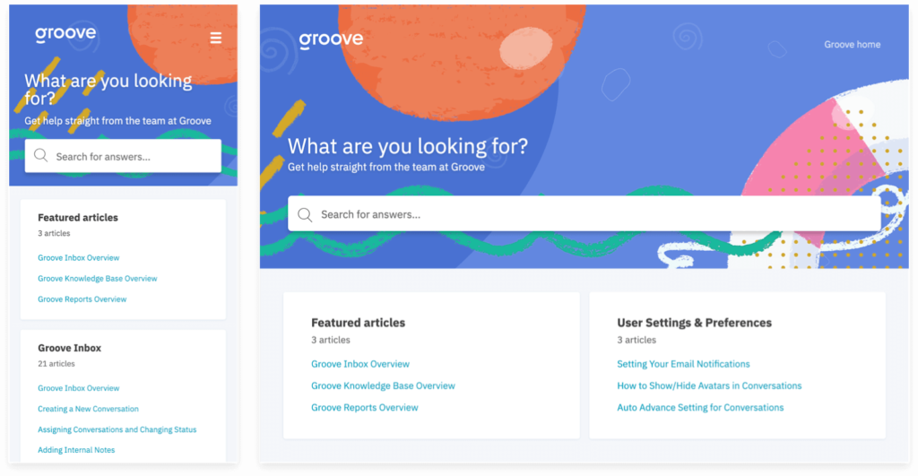 Groove's branded knowledge base