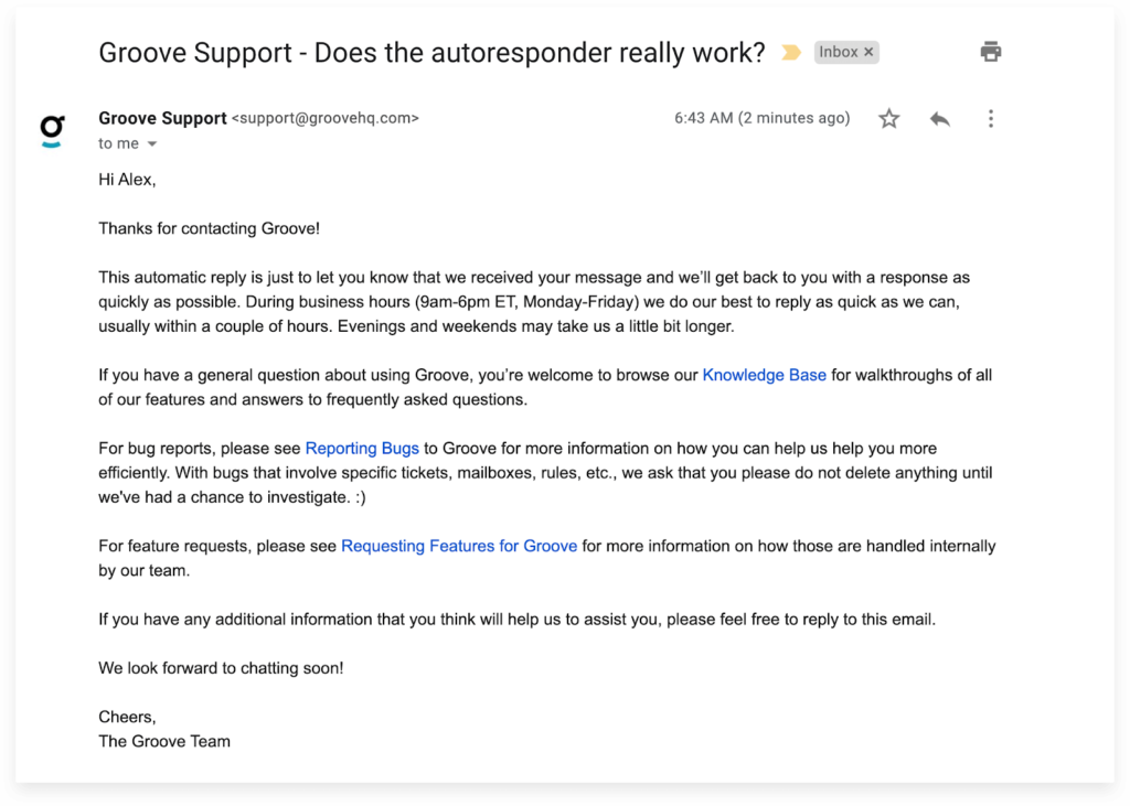 Example of a good support request autoresponder