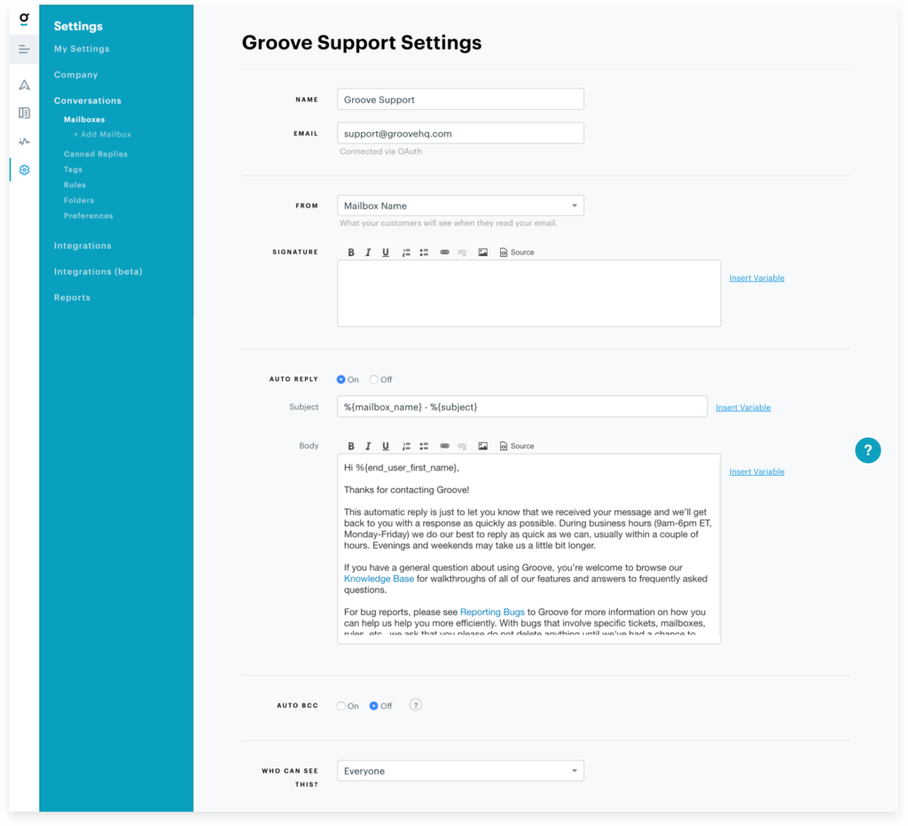 Support request autoresponder settings