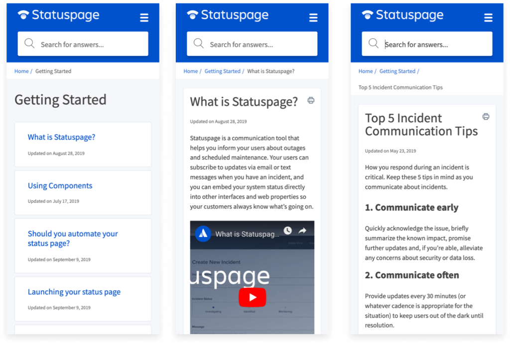 Statuspage on mobile
