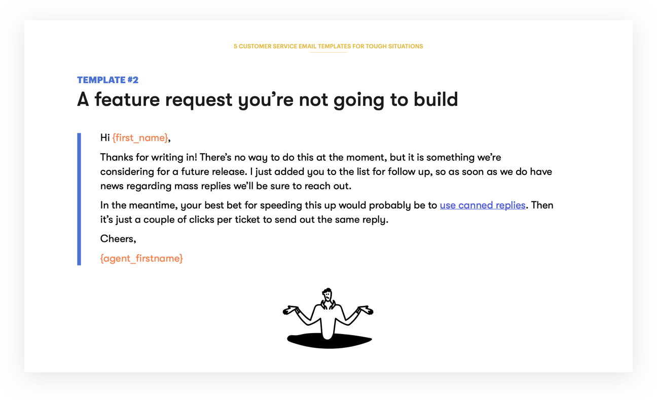 Customer Service Email Template 2 - A feature request you're not going to build