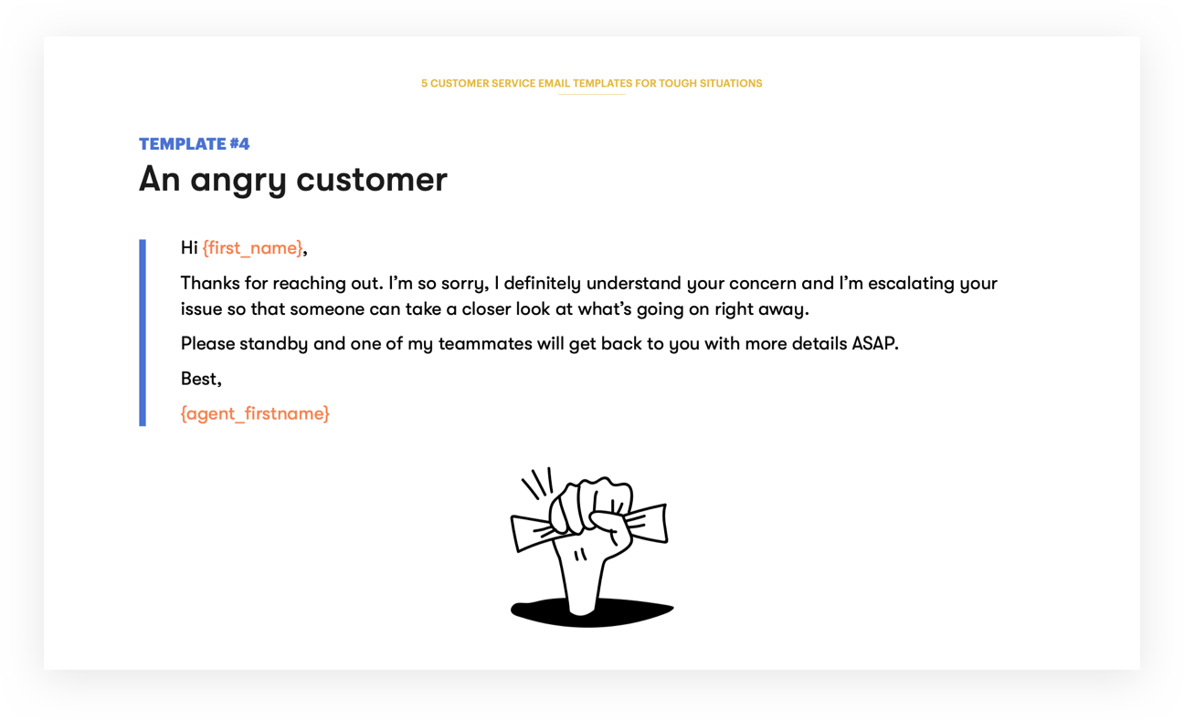 Customer Service Email Template 4 - An angry customer