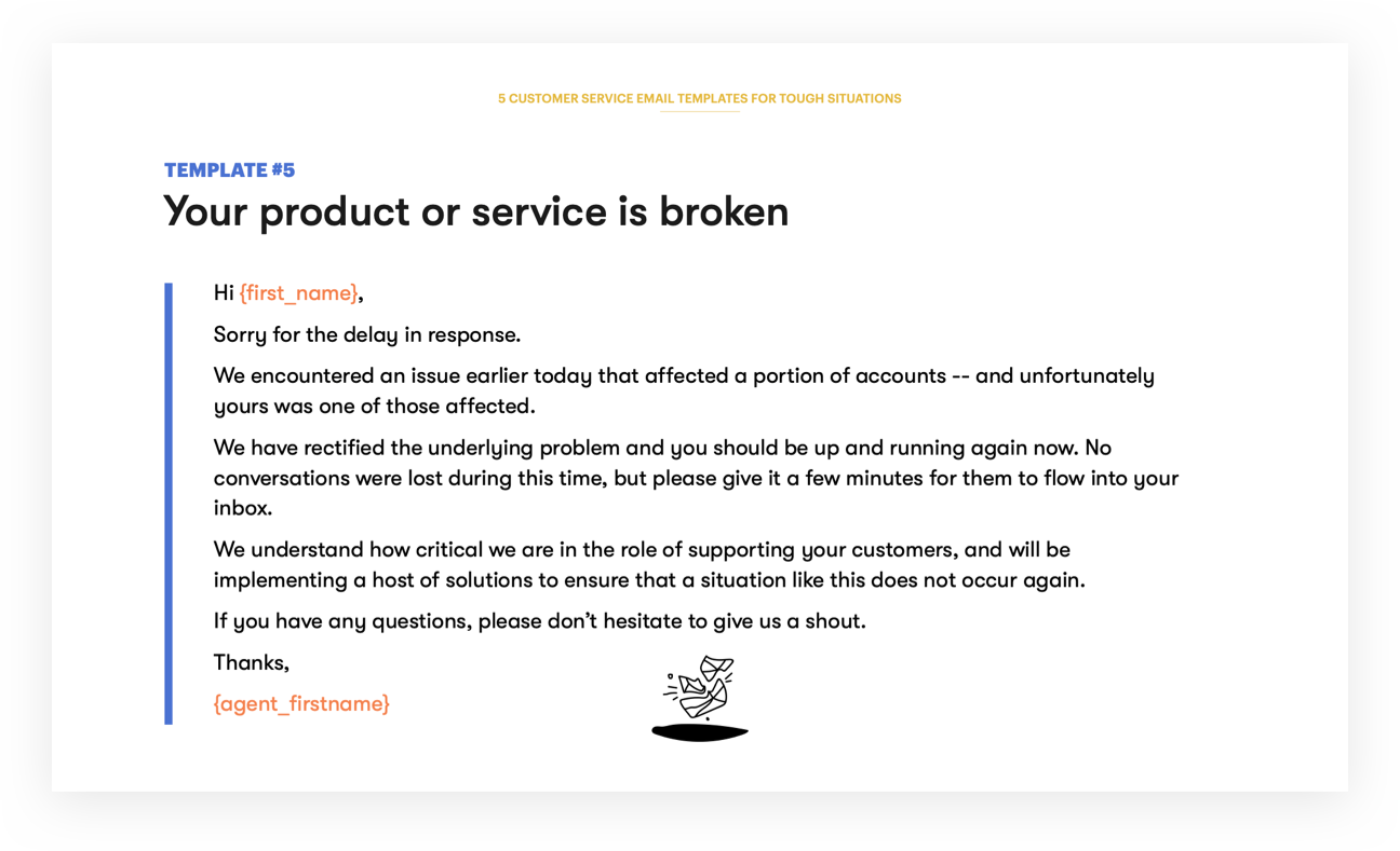 Customer Service Email Template 5 - Your product or service is broken