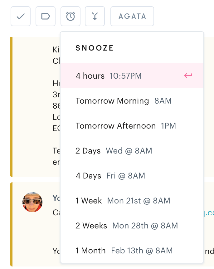 customer service email with snooze example