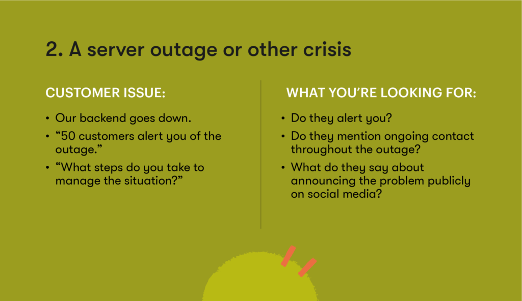 Customer service interview question 2 - A server outage or other crisis