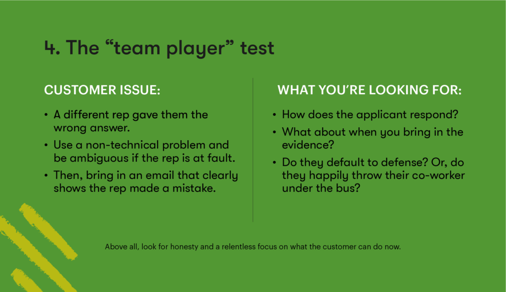 Customer service interview question 4 - The team player test