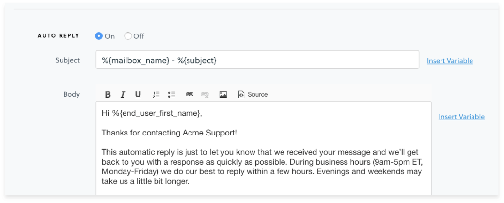 image of auto-reply in groove inbox
