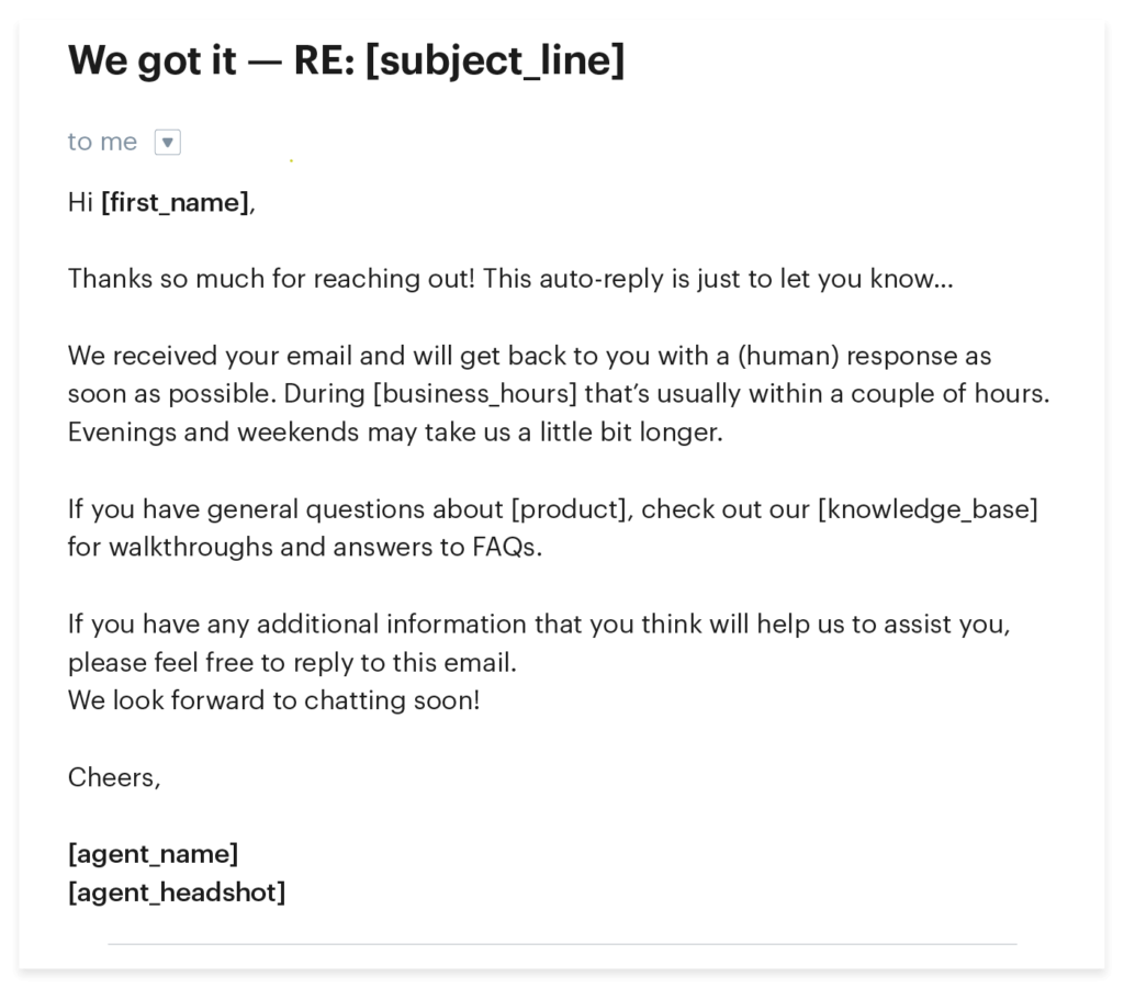Email auto-reply sample template for customer service
