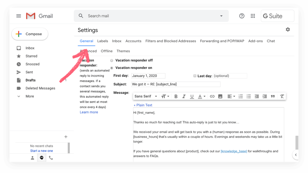 Using Gmail's out of office (Vacation) feature to send an auto-reply