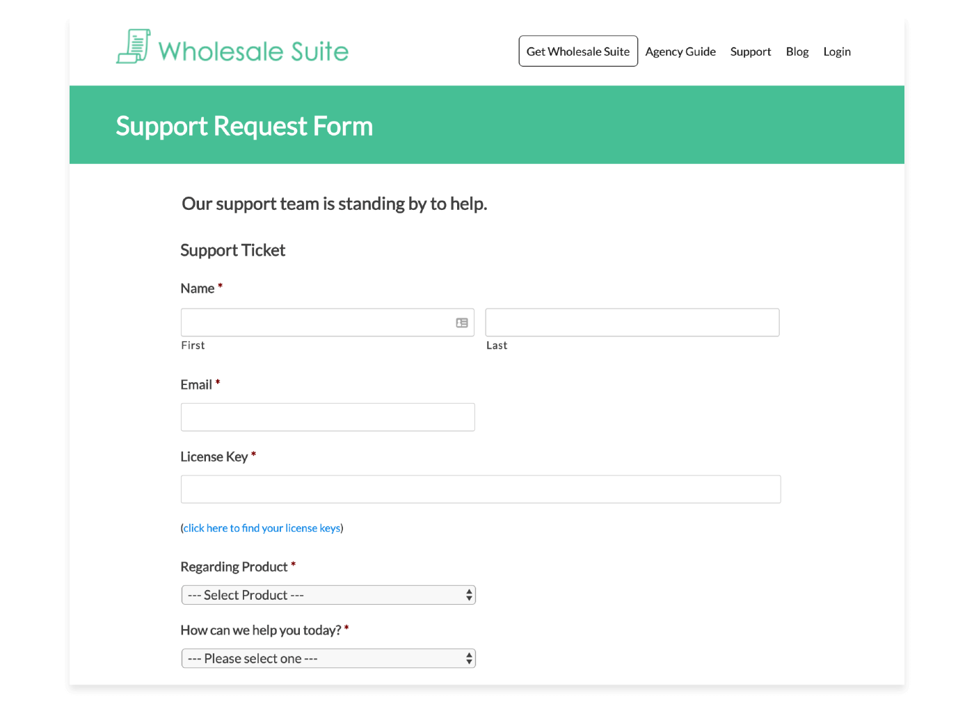 example of support request form