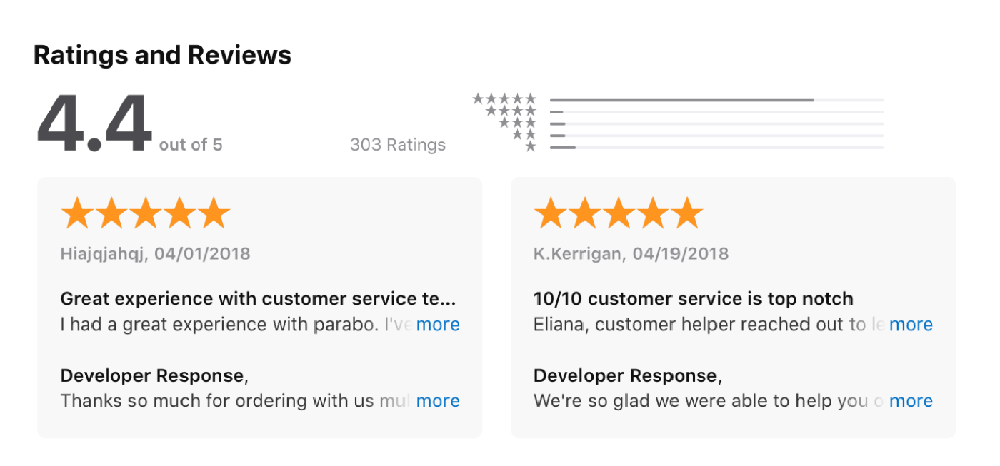 Good Customer Service Reviews Examples 1 iOS app reviews mentioning good customer support