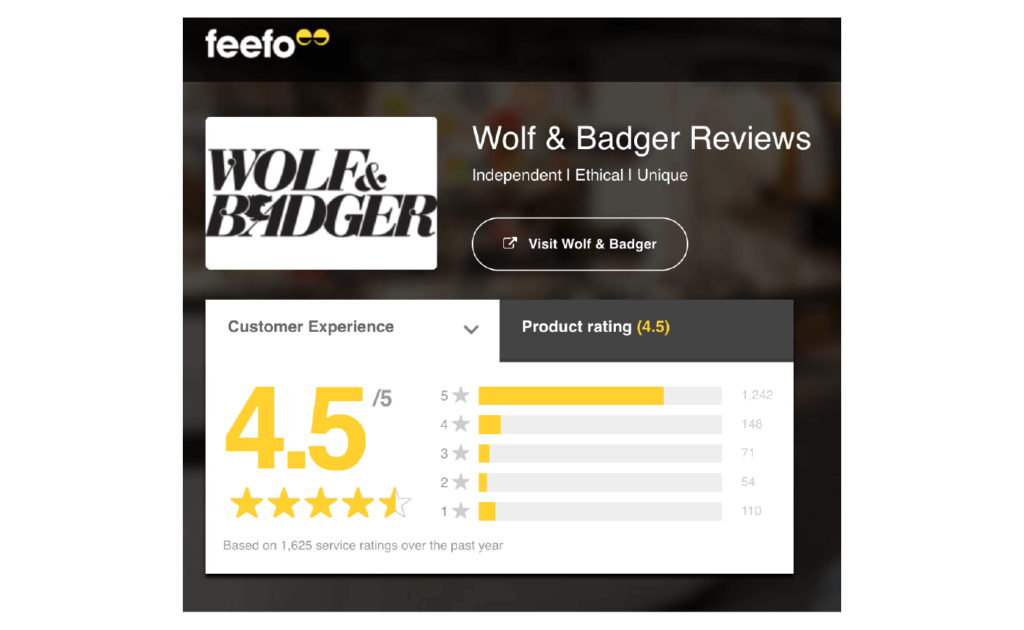 Good Customer Service Reviews Examples 4 number of ratings on Feefo