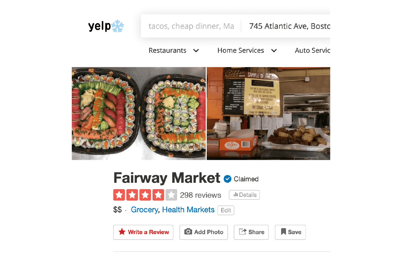 Good Customer Service Reviews Examples 4 number of ratings on Yelp