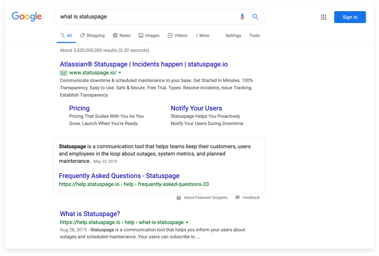 Search results for what is statuspage lead directly to its knowledge base
