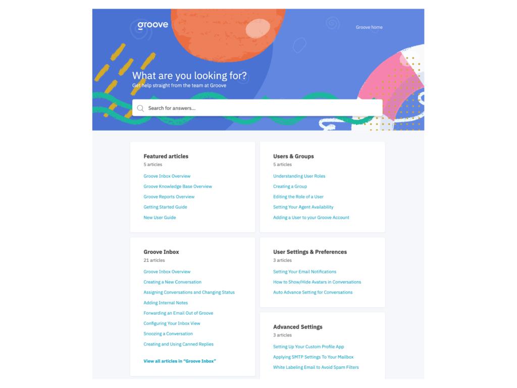 screenshot of knowledge base