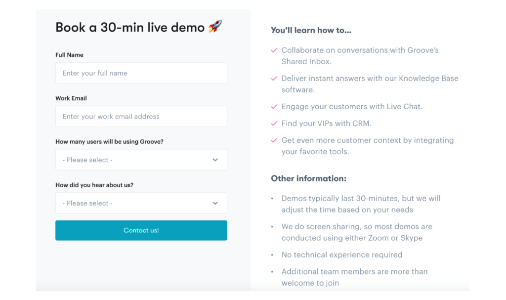sign up page for live training for customer onboarding
