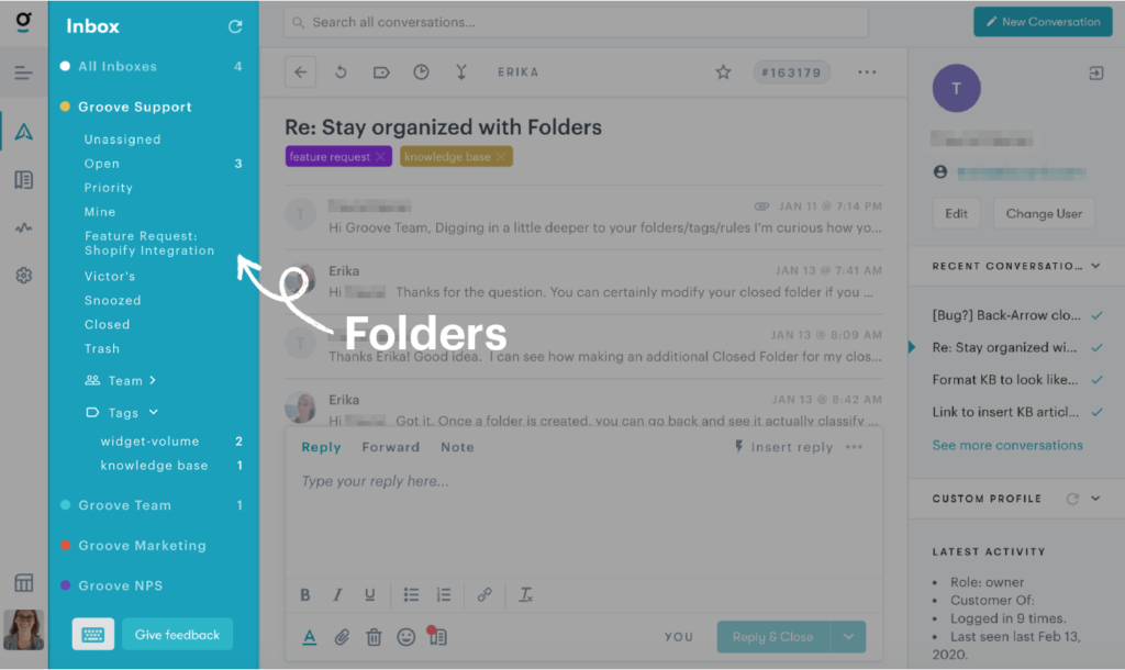 showing folders in a customer service ticketing system