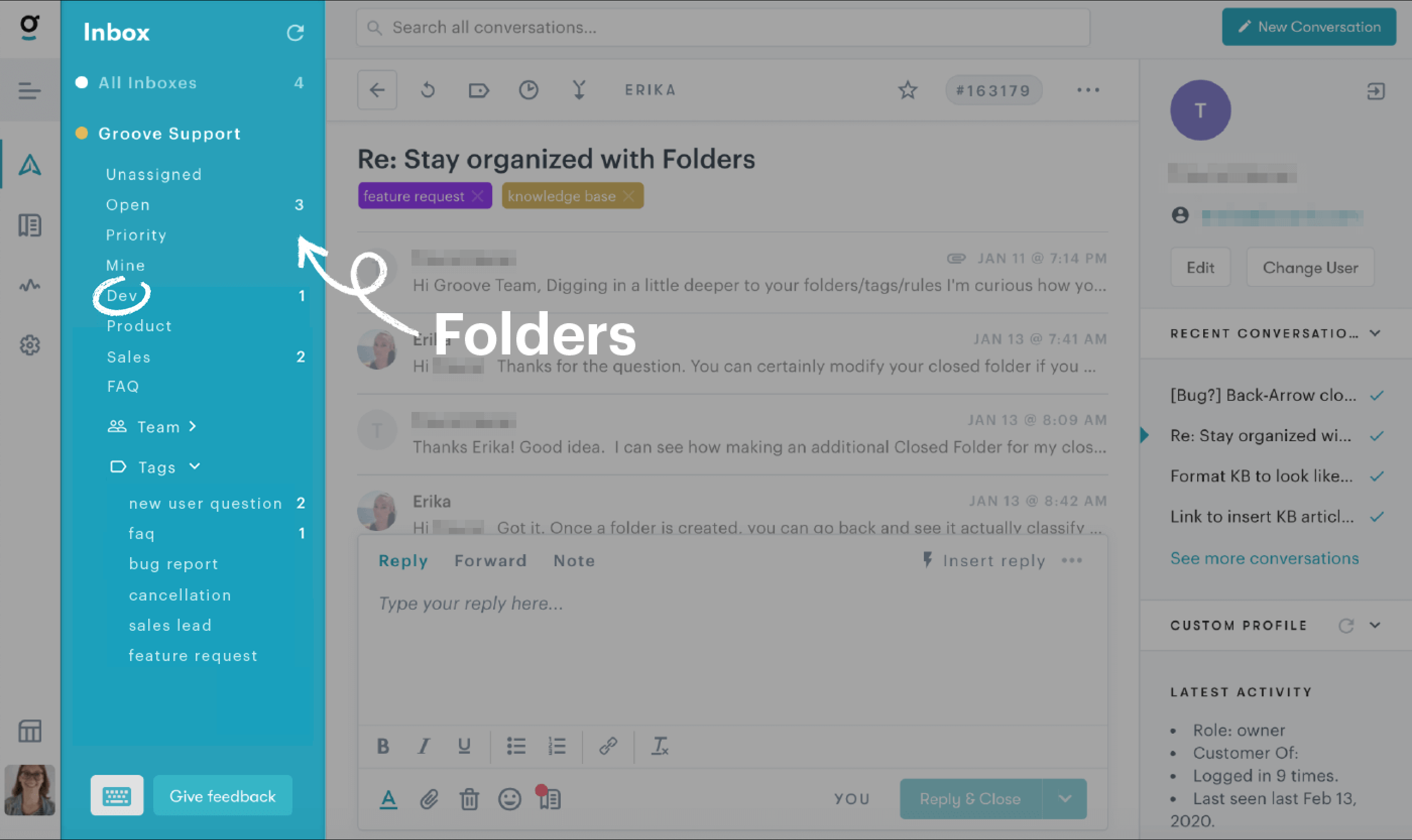 image of folders within our Customer Service Platform