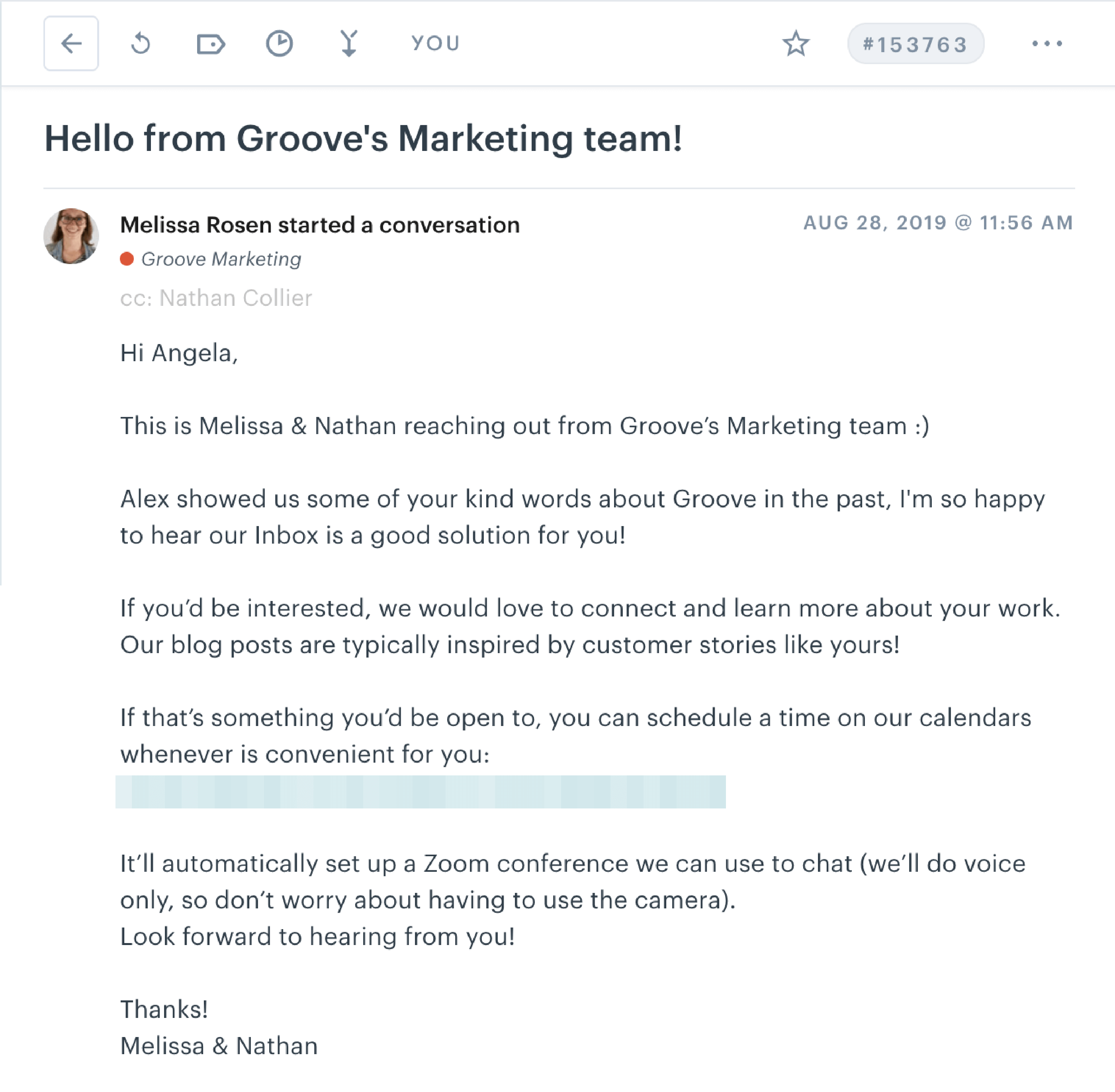 marketing email sent within our Customer Service Platform